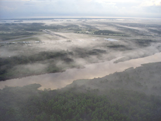 Early morning fog over the South Prong of the St. Sebastian River, by Dr. Jeff Slade